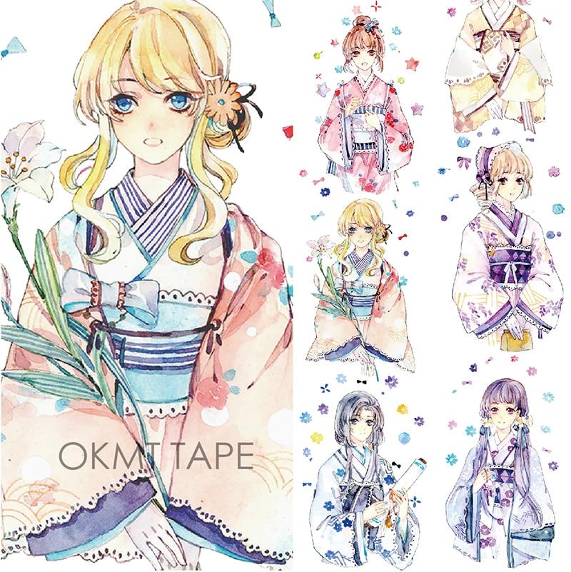 Kimono Japanese Girl Washi Tape Paper Decorative Adhesive Tape Masking Tape Scrapbook Stickers