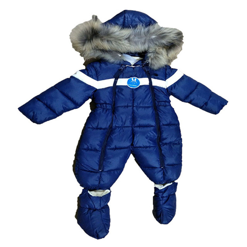Russian Winter Baby Down Cotton Rompers with Real Fur Hood Outdoor Skit Snowsuit Girls clothing Infant Boy Romper R01 russian winter baby white duck down rompers with hood outdoor skit snowsuit girls clothes infant boy jumpsuit