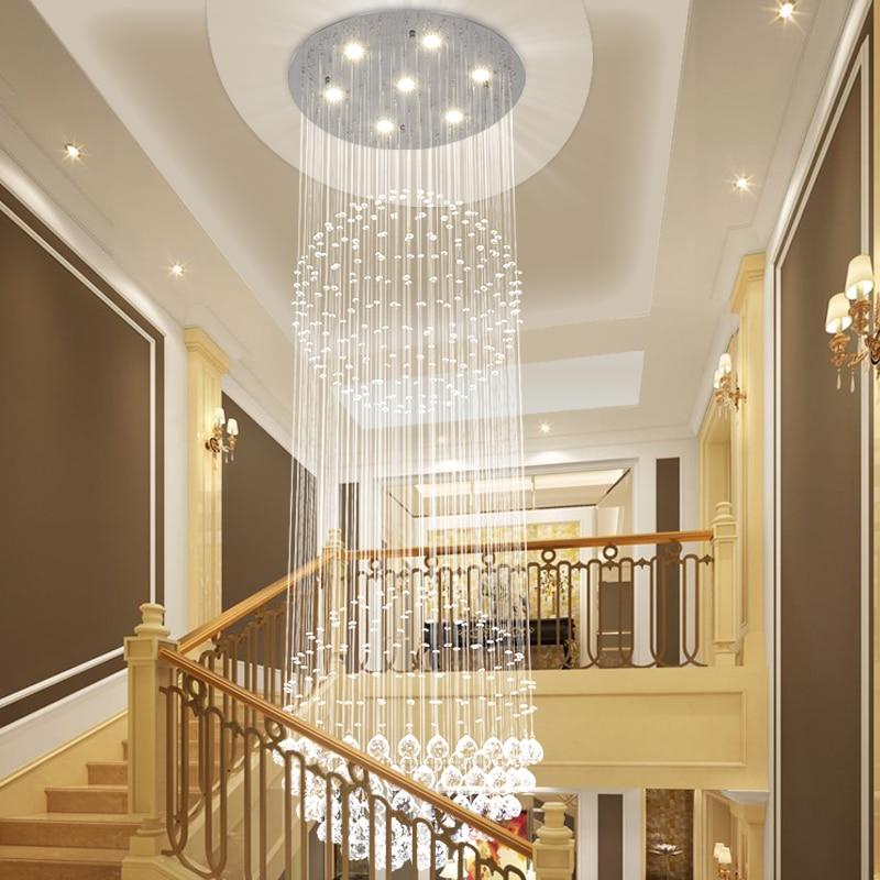 Staircase chandelier duplex floor crystal chandelier living room staircase chandelier duplex floor crystal chandelier living room large chandelier long crystal lamp sj16 ya75 in pendant lights from lights lighting on aloadofball Choice Image