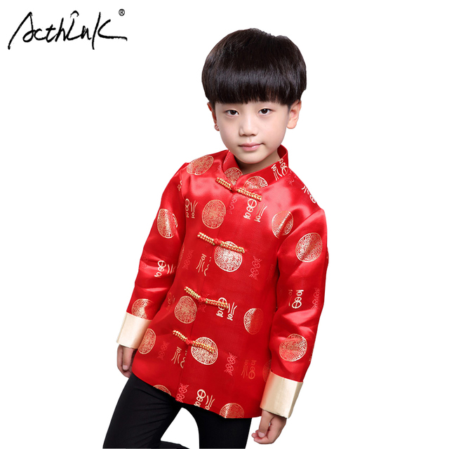 ActhInK New Boys Hanfu Coat Chinese Style Boys Party Tang Suit Kids Chinese  New Year Clothes Boys Traditional China Spring Coat 09d2d54f521c