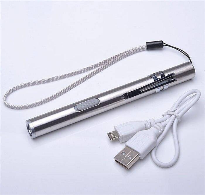 Mini En Alliage D'aluminium Étanche LED USB Charge Puissante Lampe de Poche Rechargeable CREE Torche Porte-clés Stylo lampe de Poche