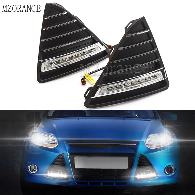 MZORANGE 1set car styling AUTO DRL Daylight Car Daytime Running lights set with fog lamp for Ford Focus 3 2012 2013 2014 2015 led front fog lights for honda cr v pilot 2012 2013 2014 car styling round bumper drl daytime running driving fog lamps