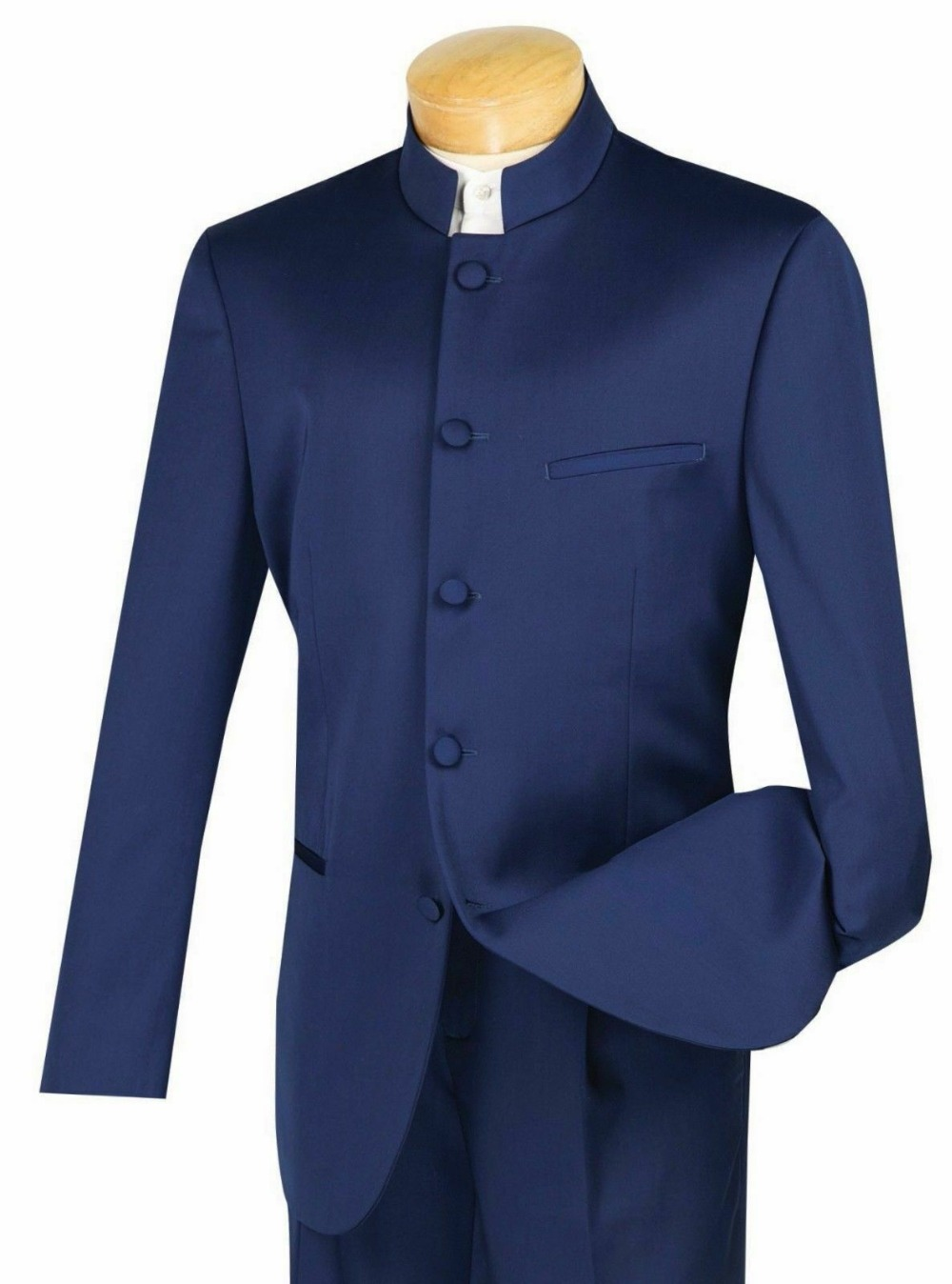 Men's Navy Blue Banded Collar 5 Button Classic Fit Tuxedo Suit Kung Fu Custom