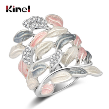 Kinel Luxury Crystal Flower Enamel Rings For Women Multi-layer Leaves Silver Color Vintage Wedding Ring Jewelry Wholesale Gift