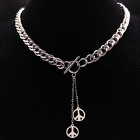 2017 Peace Sign Stainless Steel Necklace For Women Jewerly Round Silver Color Choker Necklace Jewelry Colar
