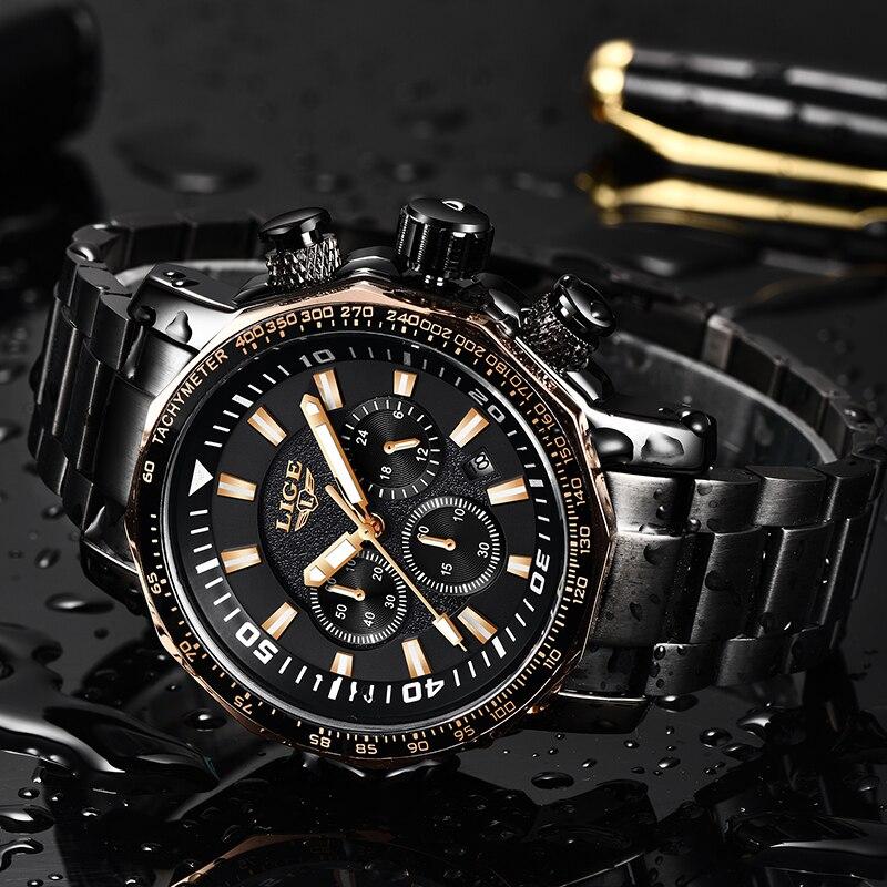 LIGE Top marque de luxe hommes étanche montres à Quartz affaires grand cadran décontracté casual Sprot complet noir hommes montre-bracelet