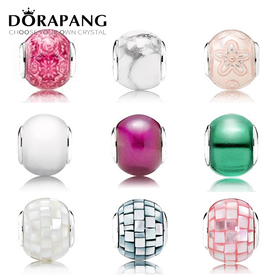 DORAPANG 925 Sterling Silver Beads Charms Multicolor Essence Murano Glass Beads collocation DIY Bracelet & bracelet fine jewelry