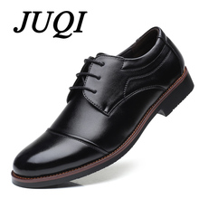 JUQI Men Derby Shoes Fashion Round Toe Lace Up Dress Business Wedding PU Leather For Man Big Size 38-48