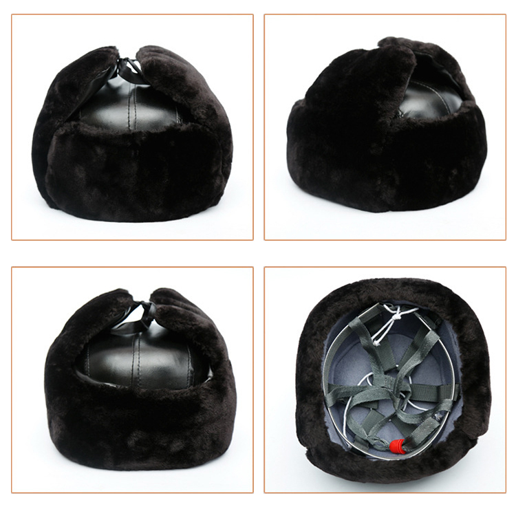Safety Helmet Winter Warm Plush Cap Ear Face Protector ABS Shell Protective Helmets Cold resistant Anti impact Hat (7)