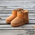 2016 Niños Del Invierno Botas de Gamuza Felpa Gruesa Zapatos Calientes de Algodón Acolchado Niños Botas de Nieve Para Niños Zapatos de Bebé Botines de Tobillo tamaño 24-35