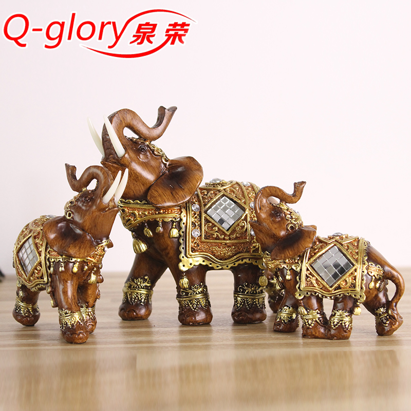 q glory resin home decor figurines elephant statues home decoration accessories lucky elephant. Black Bedroom Furniture Sets. Home Design Ideas