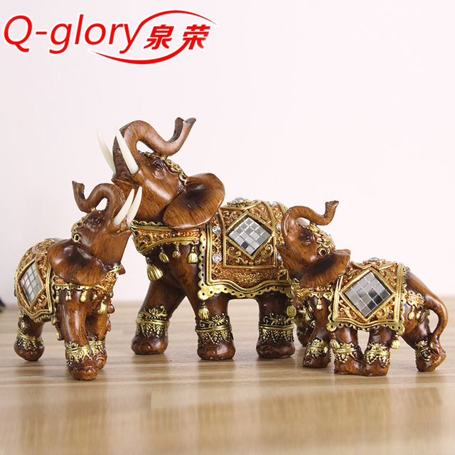 Q Glory Resin Home Decor Figurines Elephant Statues Home Decoration