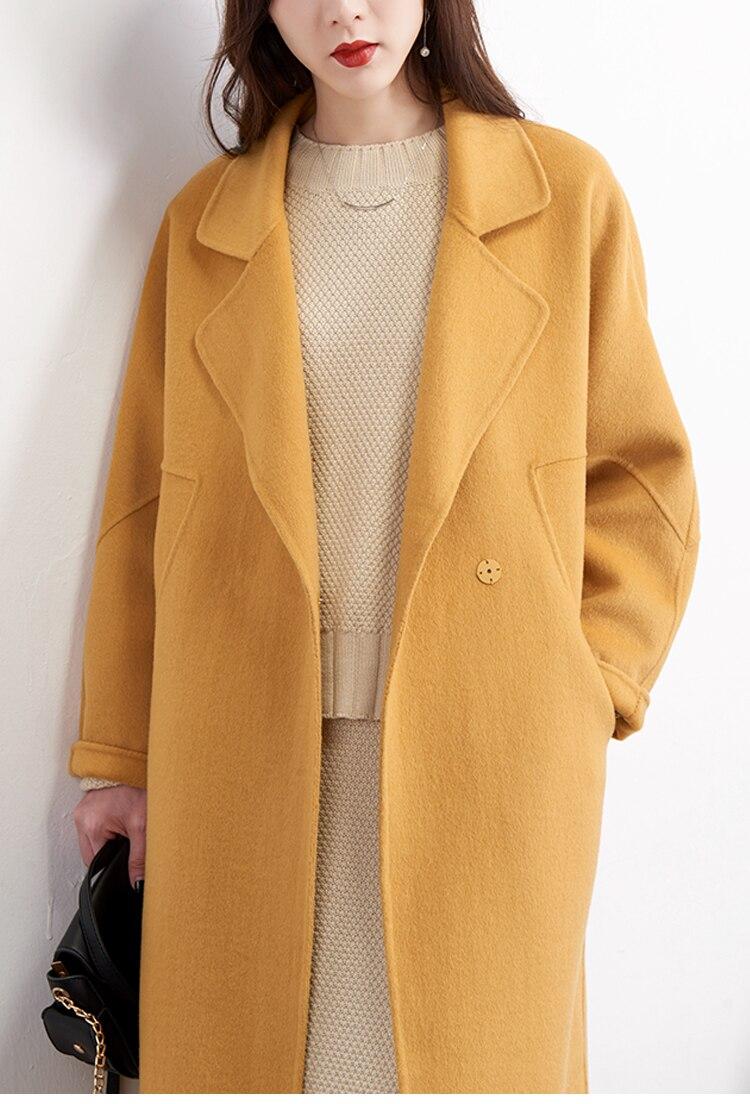 100% kurtka z wełny jesień płaszcz zimowy kobiety ubrania 2020 koreański kaszmir dwustronnie wełniany płaszcz Casaco Feminino długi płaszcz ZT756