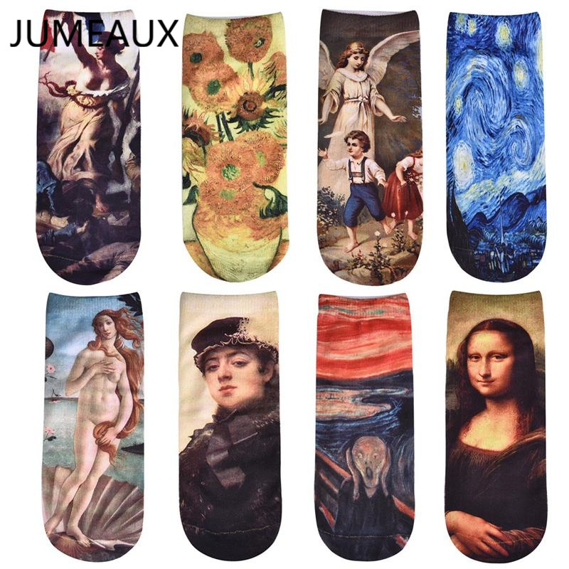 JUMEAUX Fashion Oil Painting Socks Women's Funny Socks Sunflower Mona Lisa Van Gogh Ankle Socks Novelty Casual Short Meias