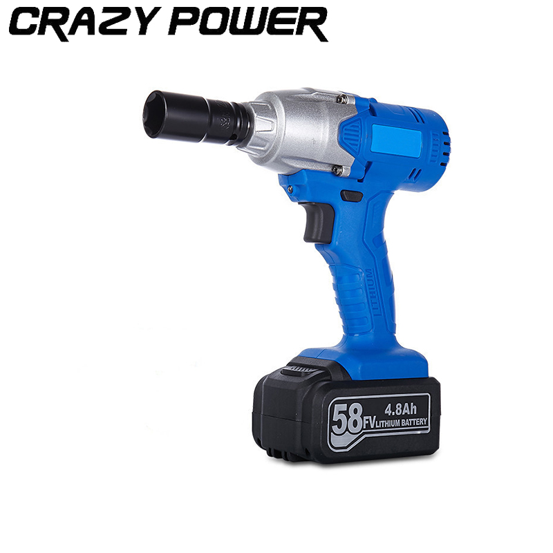CRAZY POWER 58V 2200r min 4800mAh Impact Spanner Car Wrench Hammer Cordless Drill Electric Socket Wrenches