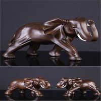 Résine éléphant figurine imitation bois mère éléphant ornements image de bon augure chanceux famille décoration ornements