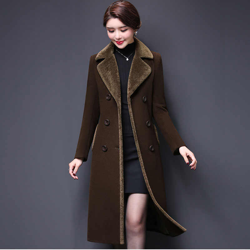 New Women Wool Blends Coat Winter 2020 Fashion Mother Thicken Cashmere Collar Long Jacket Warm Slim Tops Outerwear Female 16-939