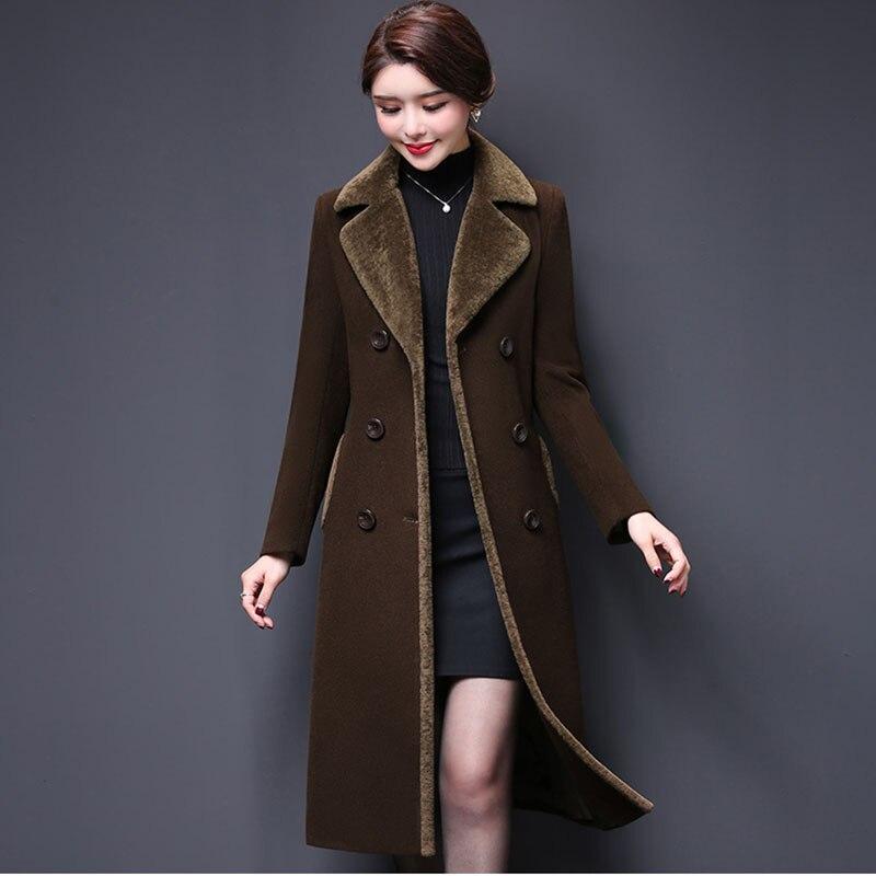 Новинка, Женское шерстяное пальто, зима 2019, модное, для мамы, утолщенное, кашемировый воротник, длинная куртка, теплая, тонкая, верхняя одежда для женщин 16 939