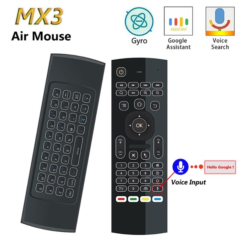 Mx3 voz rato de ar t3 google ir voz inteligente controle remoto 2.4g rf teclado sem fio para android linux mac os giroscópio remoto