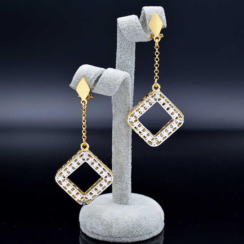 Bijoux ensoleillés bijoux de mode 2019 femmes collier boucles d'oreilles pendentif bijoux ensembles étoile carré creux Maxi Dubai ensembles de bijoux