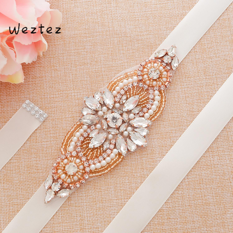 Rose Gold Bridal Sash Rhinestones Wedding Belt Transparent Crystal Bridal Belt For Wedding Accessories SD173RG
