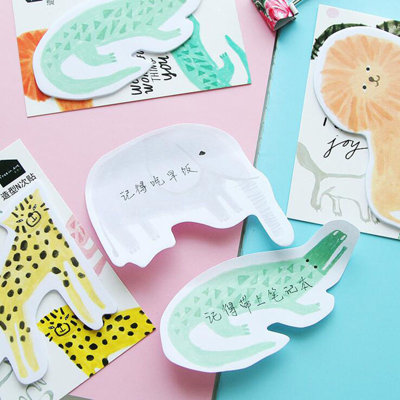 Y52 2X Kawaii Animal Sticky Notes Message Plan Writing Memo Pads School Office Supply Stationery Post It DIY Craft Decor Sticker