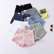 32cc832862 Vintage Fringe Denim Shorts Women Casual Pockets Female Jeans Shorts Candy Colors  2019 Summer High Waist