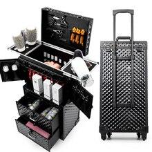 Для женщин большой емкости чемодан на колесиках для косметики прокатки Чемодан, гвозди макияж ящик для инструментов, Для мужчин с многослойным покрытием Красота салонов на колесиках, чемодан