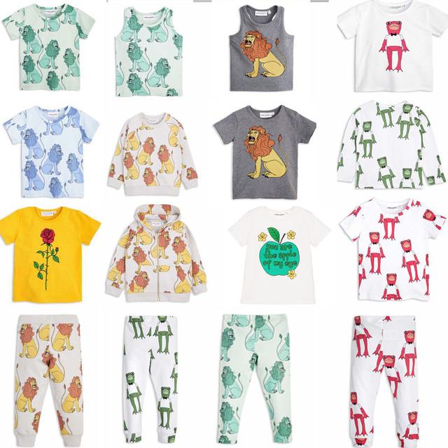 2017 verão kikikids bobo choses crianças sapo leão flor da menina do menino camisa do bebê t de manga curta tee top menina legging vestido infanti