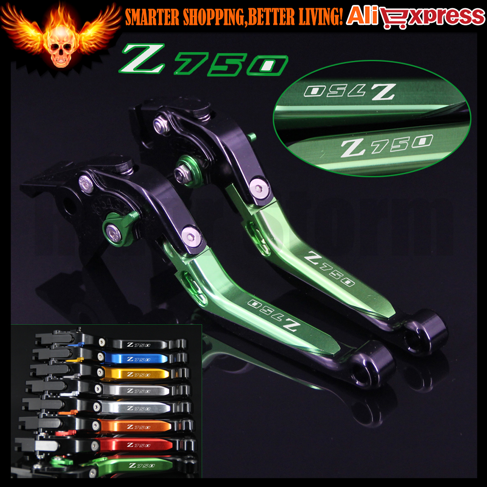 Logo Z750 Adjustable CNC Green  Motorcycle Brake Clutch Levers for Kawasaki Z750 (not Z750S model) 2007 2008 2009 2010 2011 2012 billet adjustable long folding brake clutch levers for kawasaki z750 z 750 2007 2008 2009 2010 2011 07 11 z800 z 800 2013 2014