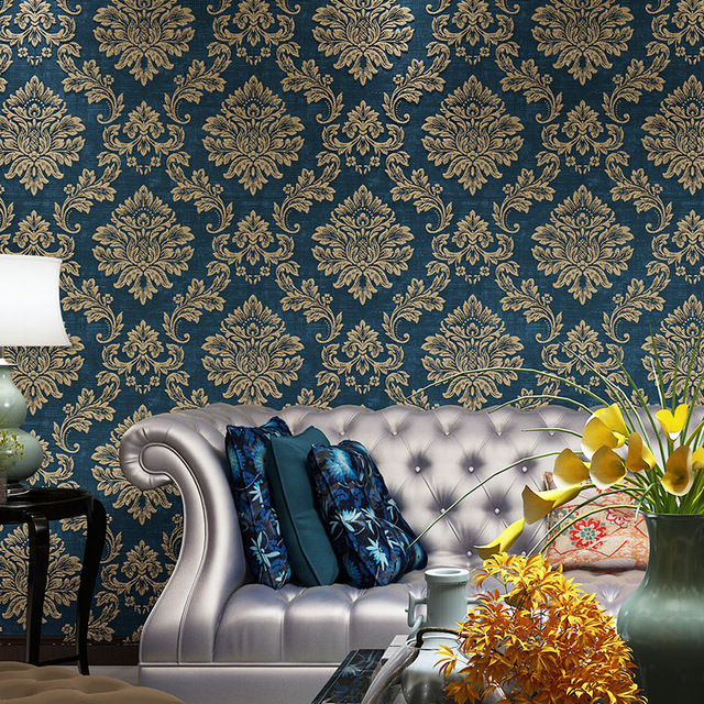 Beibehang european retro damascus throwing gold wallpaper Blue wallpaper for living room