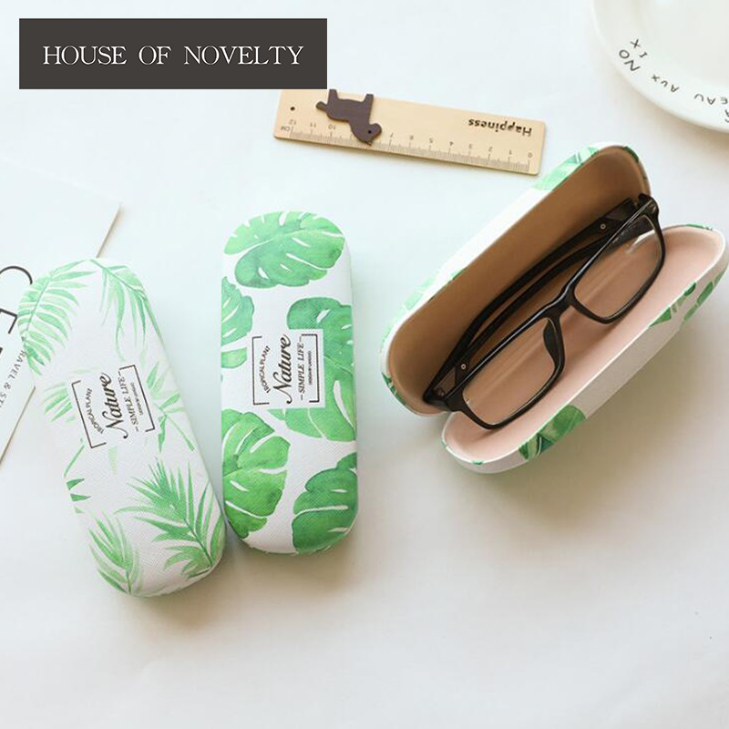 Natural Style Green Plant Glasses Case Desktop Storage Box School Office Supply Gift Stationery cute cat pen holders multifunctional storage wooden cosmetic storage box memo box penholder gift office organizer school supplie