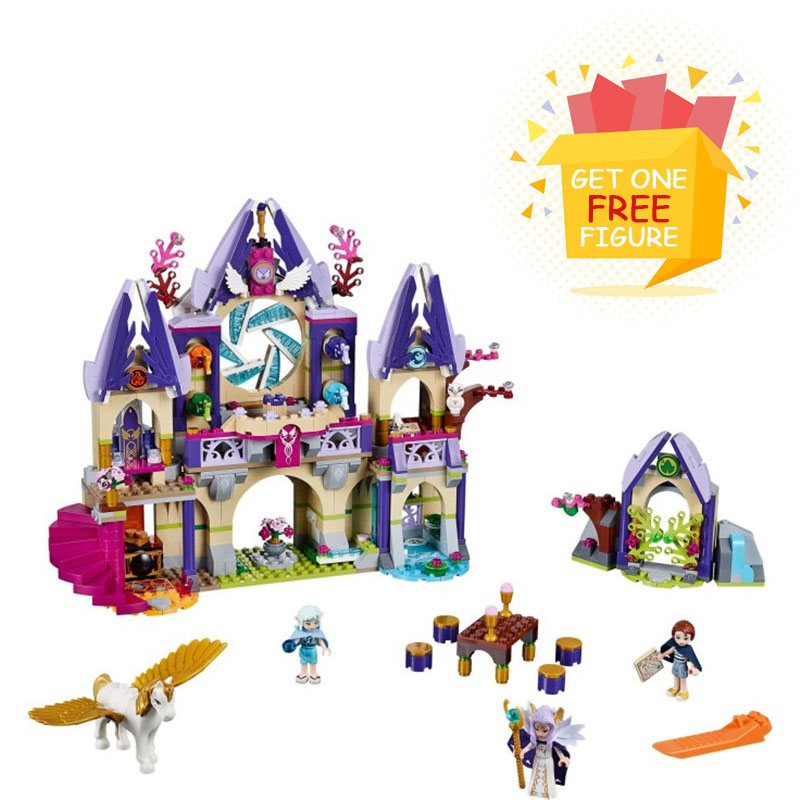 Bela Pogo Compatible Legoe Friends 809pcs Elves Skyra's Mysterious Sky Castle Girls Building Blocks Bricks toys for children lepin pogo bela 10609 girls friends heartlake pizzeria models building blocks bricks action figures compatible legoe toys