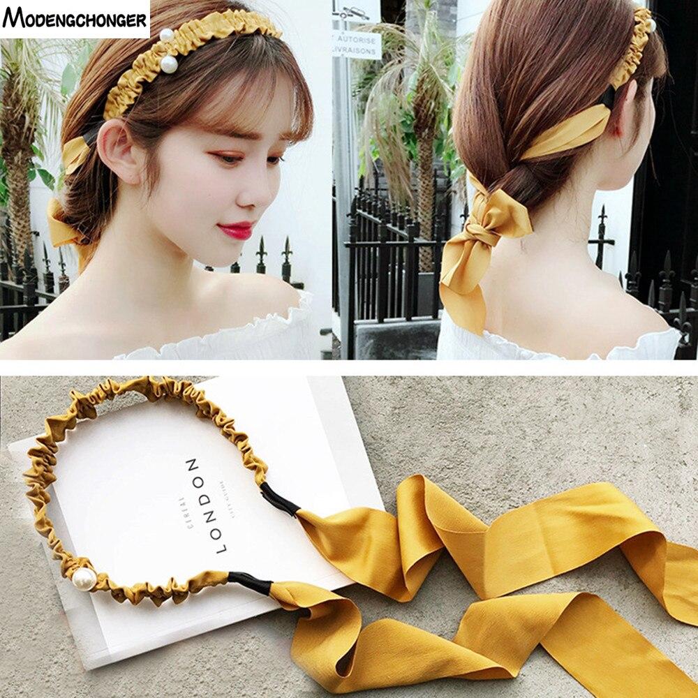 New Tassel Hairband Novelty Hair Bezel For Women Girls Sweet Bow Simple streamer Headband Pandent Accessories