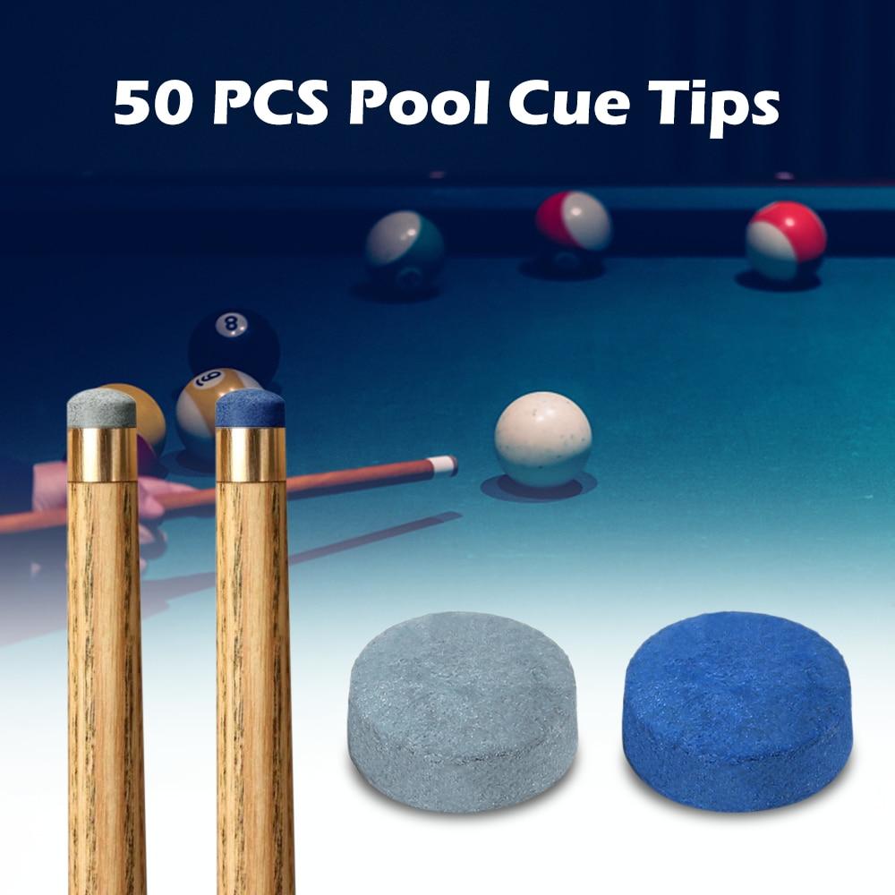High Quality 50 PCS Pool Cue Tips Billiard Cue Head 9MM / 10MM / 12MM / 13MM Professional Leather Billiard Accessories Blue/grey