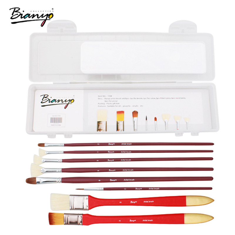 Bianyo 8Pcs Different Size Bristle Hair Paint Brush Artist Acrylic Oil Watercolor Painting Brush for Professional Art Supplies цена 2017