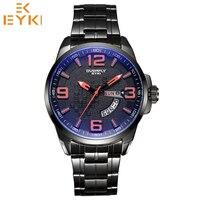 EYKI men luxury stainless steel sapphire coated calendar day date month watches man luminous quartz wristwatch Relogio Masculino