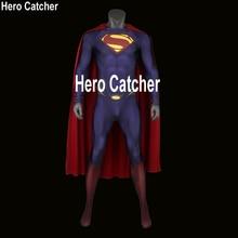 Герой Catcher Высокое качество 3D-логотип Супермен Spandex Костюм 3D-печать Супермен Костюм Супергероя Костюм спандекса Человек из стального костюма