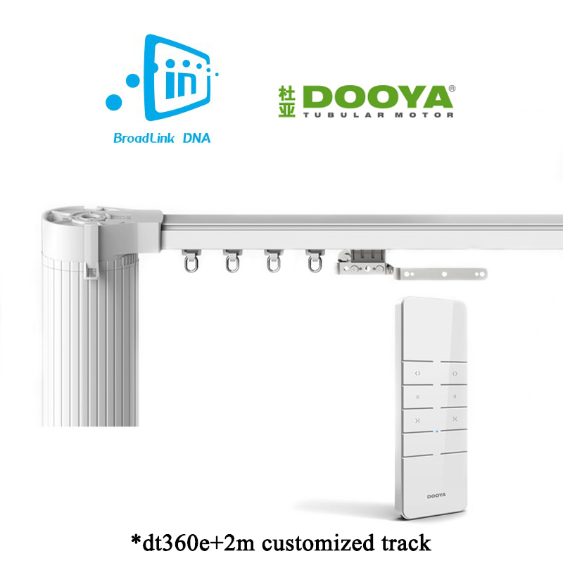 Broadlink DNA Dooya WiFi Curtain Motor+2M Customizable Aluminum Electric Window Curtain Track Rod Rail IOS Android ewelink dooya electric curtain system curtain motor dt52e 45w remote control motorized aluminium curtain rail tracks 1m 6m