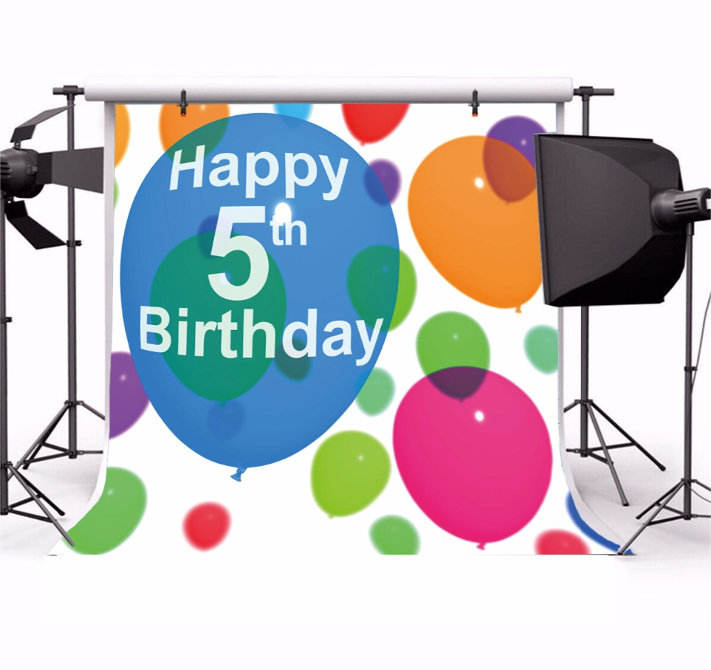 Laeacco Happy 5th Birthday Balloon Decor Children Photography Backgrounds Customized Photographic Backdrops For Photo Studio