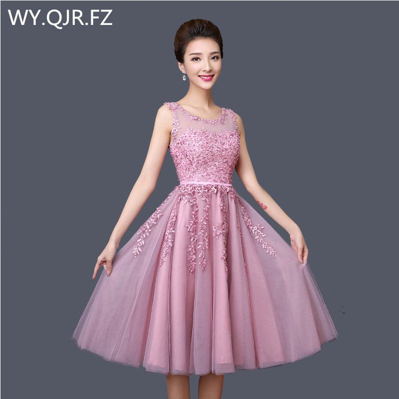 XFYH2316 Pink lace short Graduation Bridesmaid dresses Toast suit wedding party dress prom gown cheap wholesale