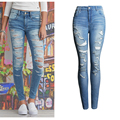 2017 Women Pencil Jeans Famale Vintage Ripped Skinny Jeans Casual Ladies Hole Bleached High Waist Denim Pants Trousers WJNAM049