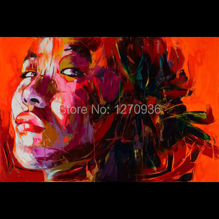 Professional Artist Hand painted Modern Abstract Woman Portrait Oil Painting On Canvas Abstract Face Knife Painting for Decor