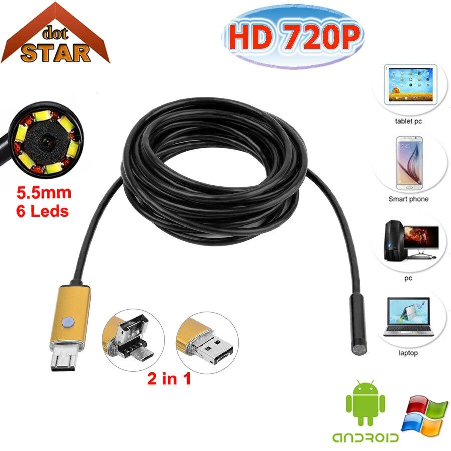 Stardot 5.5mm Objectif USB Endoscope Android OTG Téléphone Endoscopio IP67 Étanche Inspection Mini 2in1 Endoscope Endoscope
