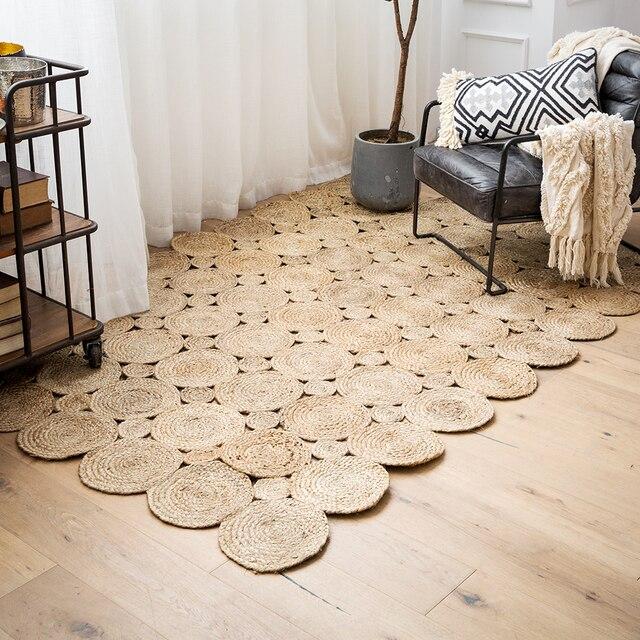 121fae15 100% alfombra de Yute Natural hecha a mano alfombra redonda antideslizante  alfombra de puerta y