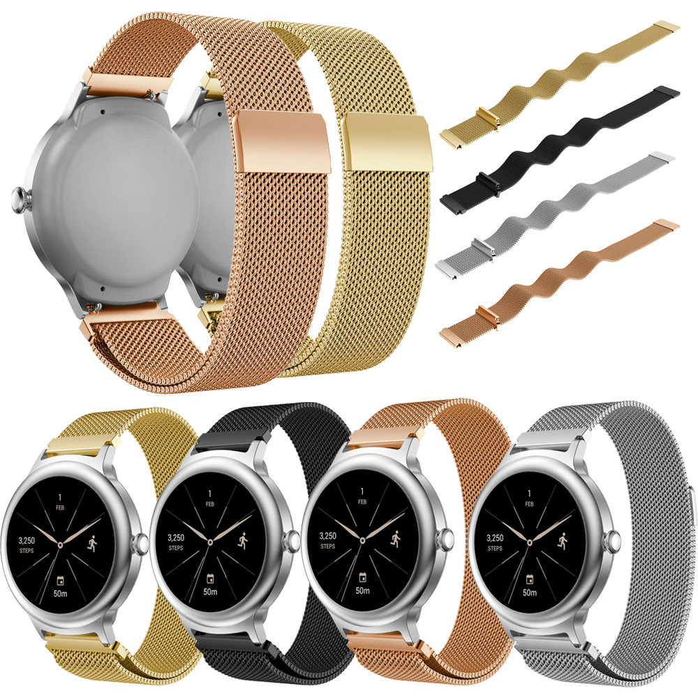 2018 high quality Watch Strap Milanese Stainless Steel Watch Band Strap Bracelet For LG Watch Style Correas de reloj New Style 22mm soft silicone strap replacement watch band for garmin forerunner 735xt watch correas de reloj