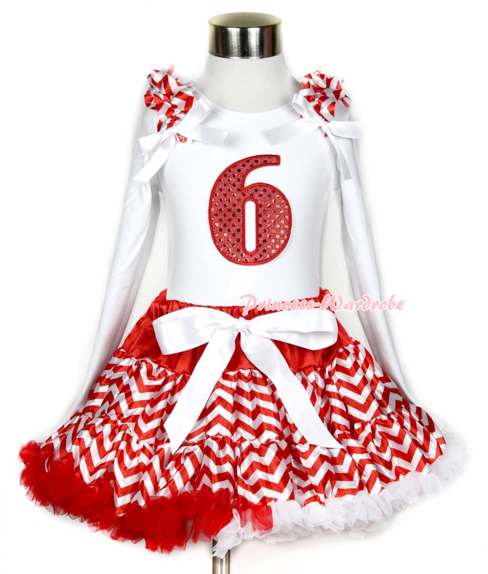 Xmas Red White Wave Pettiskirt 6th Sparkle Red Birthday Print White L/S Top Red White Wave Ruffles White Bow MAMW291 xmas white tank top 2nd sparkle red birthday number with red snowflakes ruffles