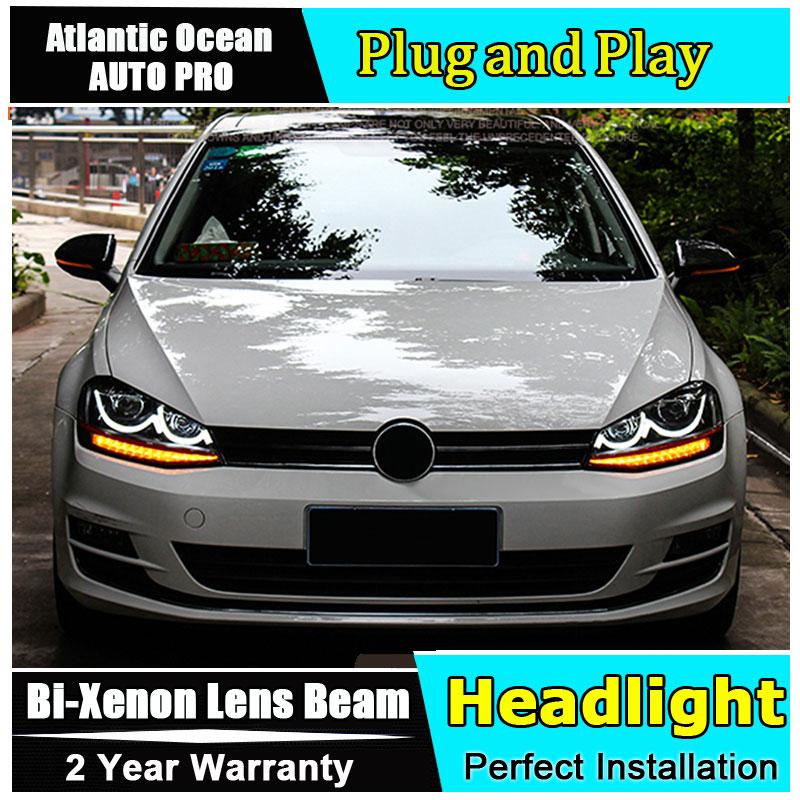 2013 2016 Car Styling for VW Golf 7 Headlights Golf MK7 LED Headlight Smile DRL Lens