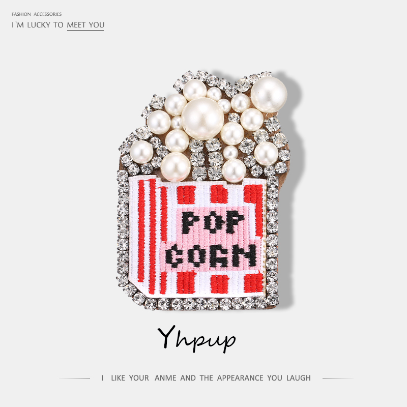 Yhpup POP Luxury Genuine Leather Rhinestone Pearl Fashion Big Brooches Pin Exaggerated Clothes Accessories Jewelry
