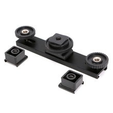Hot Shoe Extension Bar Mount Dual Bracket For DV Video Camera LED Light SLR Rig цена и фото